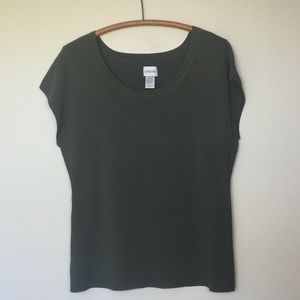CHICO'S Olive Scoop Neck Knit Top Cap Sleeves 3